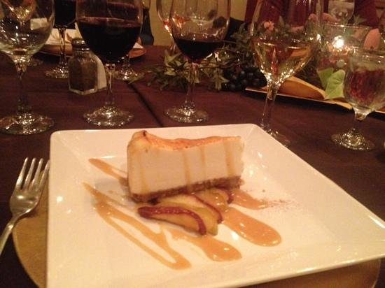 Meriwethers: cheesecake and Riesling on the right.
