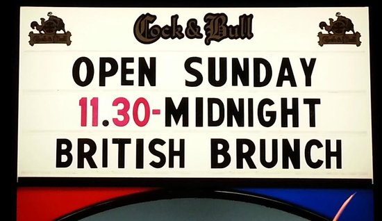 The Cock & Bull Pub and Restaurant: Open Sundays