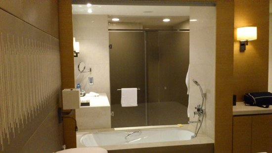 Hyatt Regency Hong Kong Sha Tin: Bathroom thru window