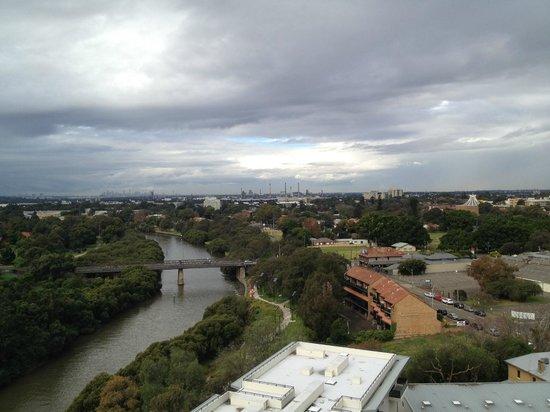Meriton Suites George Street, Parramatta: view of Parramatta river & city from 1st level