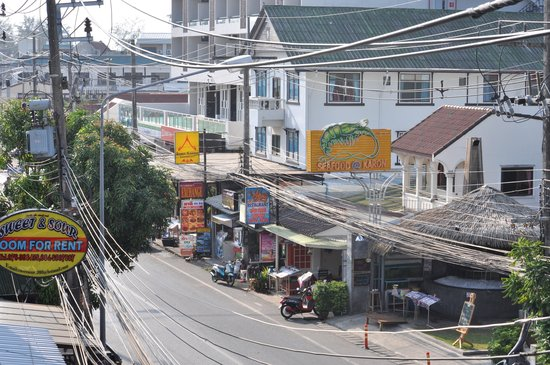 Lana House & Restaurant: View down Patak Rd from balcony