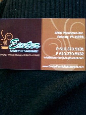 Exeter Family Restaurant: calling card, come again