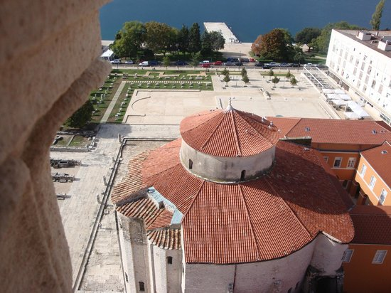 Zadar City Gate: Roman Forum and St Donat roof from cathedral tower