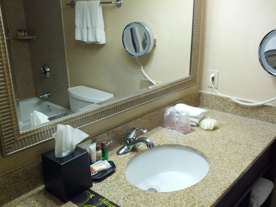 Sheraton Omaha Hotel: Bathroom - includes mouthwash and body puff