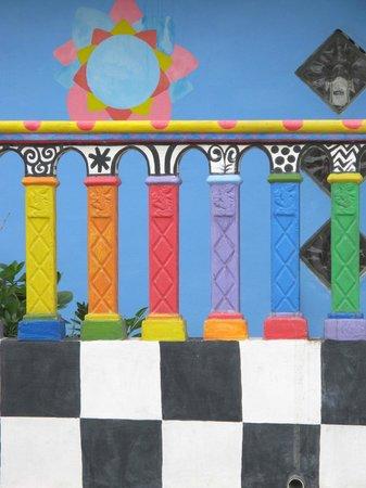 Crayola House: Multi-colored railing