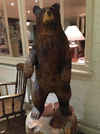 The bear statue in the lobby