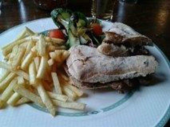 The Old Barn Inn: 4oz steak ciabatta, chips, salad £6.50 Delicious!