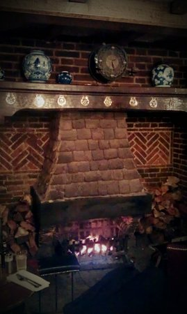 The Bird In Hand Country Inn: The fireplace in the pub