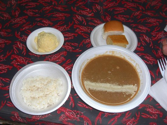 Suire's Grocery: Shrimp gumbo, rice, potato salad, roll and dessert