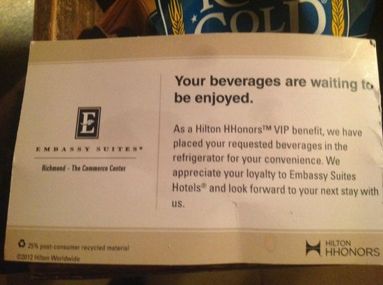 Embassy Suites by Hilton Richmond: Used - Oily - HHonors VIP Welcome beverage card