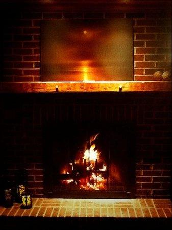 Essex Inn on the Adirondack Coast: Side Dining Room wood-burning fireplace.