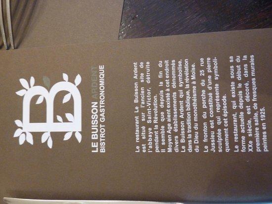 set de table / histoire du restaurant - Picture of Le Buisson Ardent ...