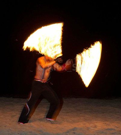 Bellini: fire show at the beach nearby