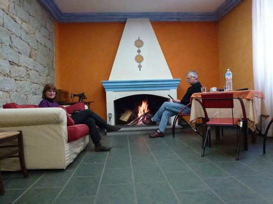 Hotel Sa Orte : A nice log fire in the sitting/tv room