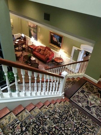 Church Street Inn: View down stairs to hotel lobby area