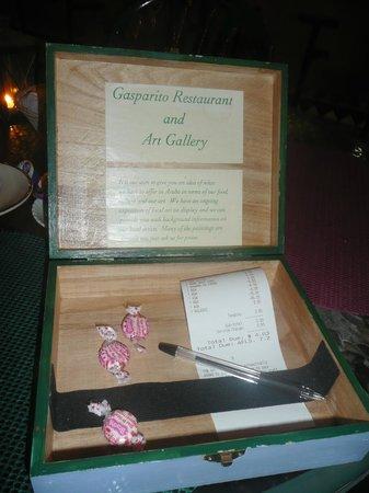 Gasparito Restaurant: Rechnung