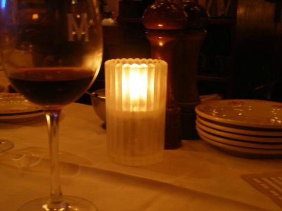 Maggiano's Little Italy: The beautiful table set up after our server poured the first sample glass of wine.
