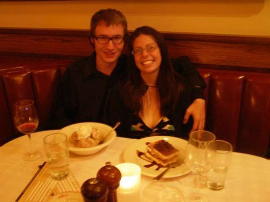 Maggiano's Little Italy: A lovely pic of us about to have dessert, taken by our server on the night of our engagement.