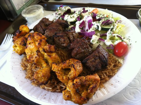 Chicken kabob baklava rice salad garbanzo beans for Afghan kabob cuisine