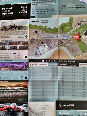 بارك إن أبو ظبي، ياس آيلاند: Information for Yas island, given by the doorman/valet man.