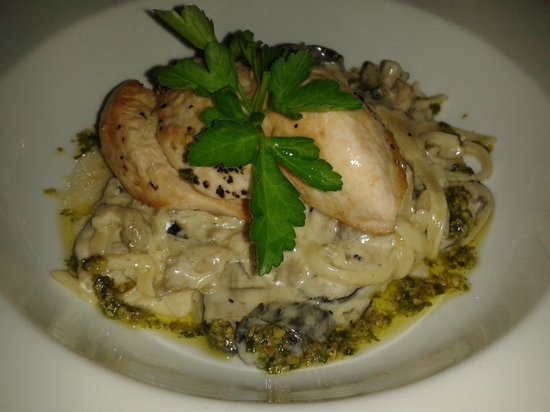 The Riverside Restaurant : Over roasted chicken breast with white wine & mushroom linguine and pesto