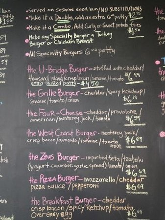 Sample Menu  Picture Of The Burger Grille Uxbridge  Tripadvisor