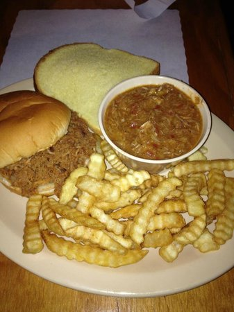 Wares BBQ: barbeque pork sandwich, french fries, and brunswick stew