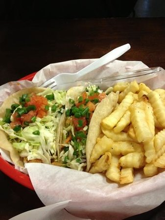 Bayou Cafe: fish tacos with fries