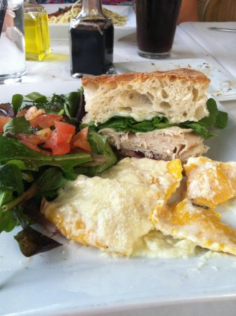 Cafe Sole: Turkey Panini and a bit of the butternut squash ravioli