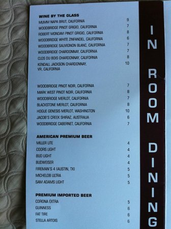 Embassy Suites by Hilton San Marcos - Hotel, Spa & Conference Center: More of the in room dining menu