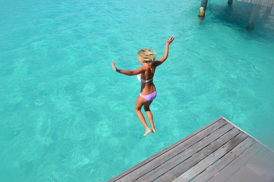 Four Seasons Resort Bora Bora: Me jumping off of our deck