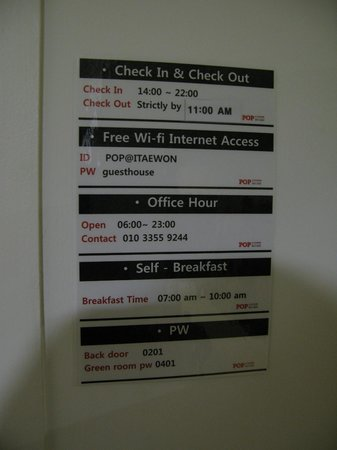 POP@Itaewon Guesthouse: Helpful numbers