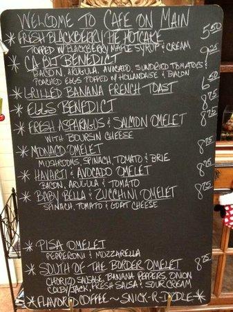 Specials Menu, Cafe on Main