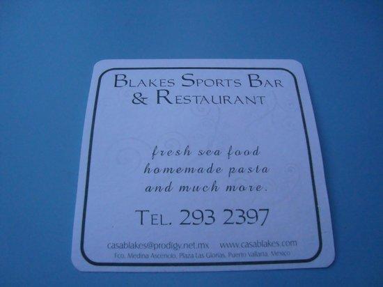 Blake's Restaurant: Menu