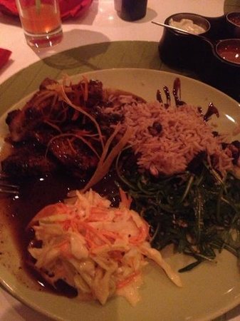 Moshan Island Grill: jerk chicken with rice n peas