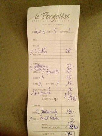 Restaurant Le Pergolese : счет