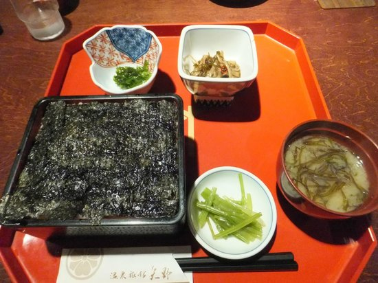 Onsen Ryokan Yano: 併設レストランで食べられる松前海苔だんだん。