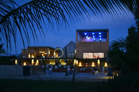 Rancho Pescadero: View of the main reception, dining and pool area at night