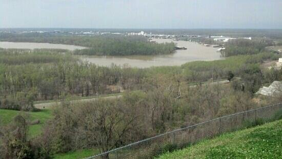 Vicksburg National Cemetery: View if Yazoo River from Ft. Hill. At the time of battle the Mississippi ran here.