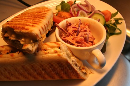Sizewell Beach Cafe: A Chicken Pesto Panini served with homemade coleslaw and salad