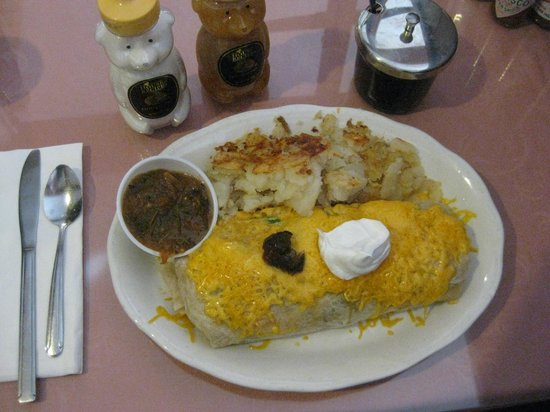 The Stove Restaurant Country Cookin: Stuffed breakfast burrito served with fresh salsa