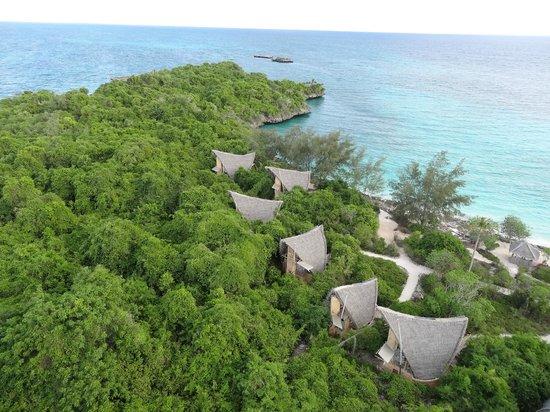 Chumbe Island Coral Park: cottages vom Leuchtturm aus