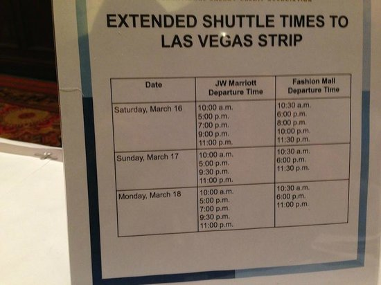 JW Marriott Las Vegas Resort & Spa: Extended shuttle schedule to strip during conference