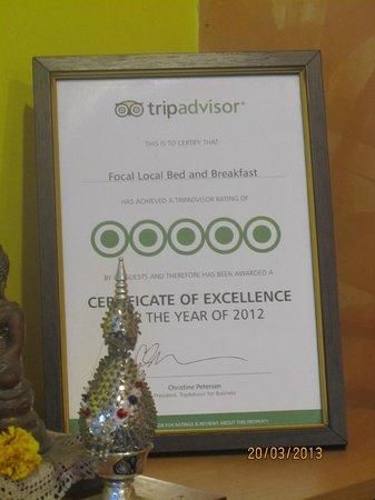Focal Local Bed and Breakfast: Tripadvisor award!