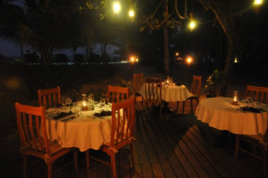 Hamanasi Adventure and Dive Resort: dining under the stars and palms