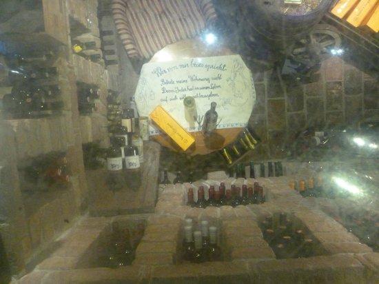 Kupferkessel: Looking down to the cellar through a glass floor