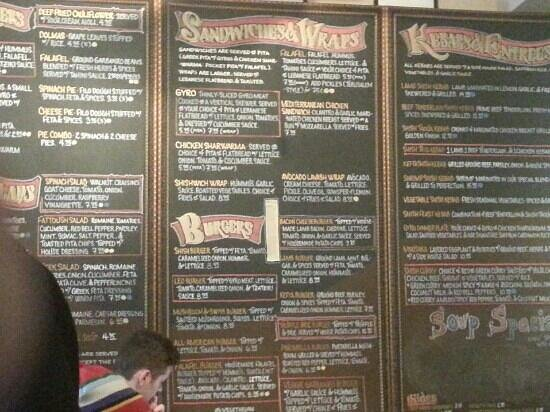 Shish Mediterranean Grill & Cafe : The giant menu on the wall