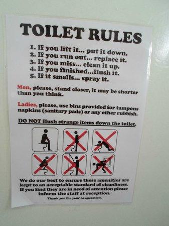 Toilet Rules - Picture of Lucky Lake Hostel, Vinkeveen - TripAdvisor