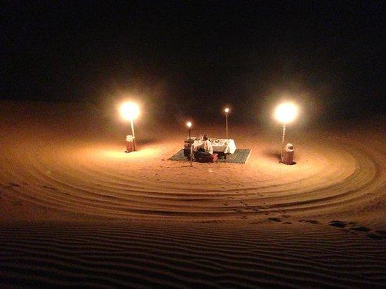 Al Maha, A Luxury Collection Desert Resort & Spa: Dune dinner!