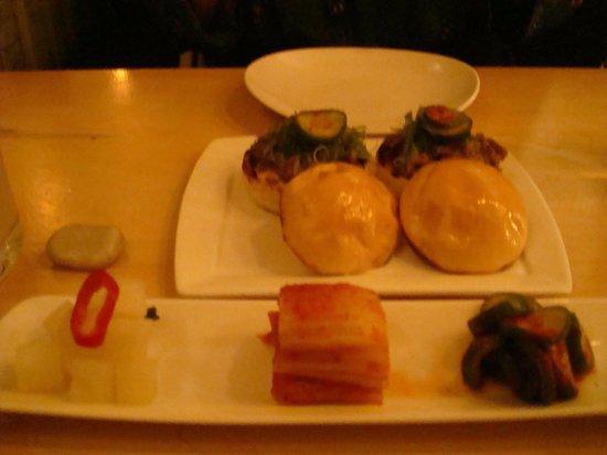 Danji: Top - Bulgogi sliders; bottom - Kimchi trio